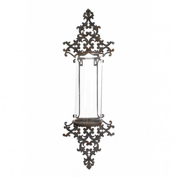'Wall-Mount' Storm Light with Glass Candle Light Holder, in Antique metal. By London Ornaments