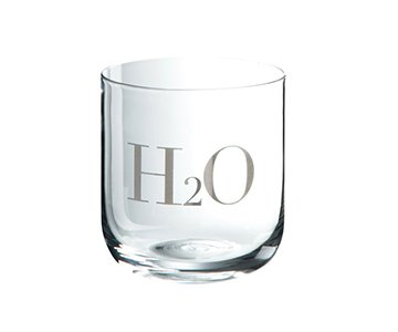 Water Glass 'H2O', beautifully crafted from Glass, presented with Silver engraving. From J-Line by JOLIPA