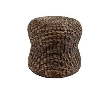 'Water Hyacinth Stool', made from Reed, Rattan & Bamboo, presented in Brown. From J-Line by JOLIPA