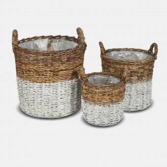 White Abaca Baskets (S/3), Wicker, White / Natural (3 sizes)
