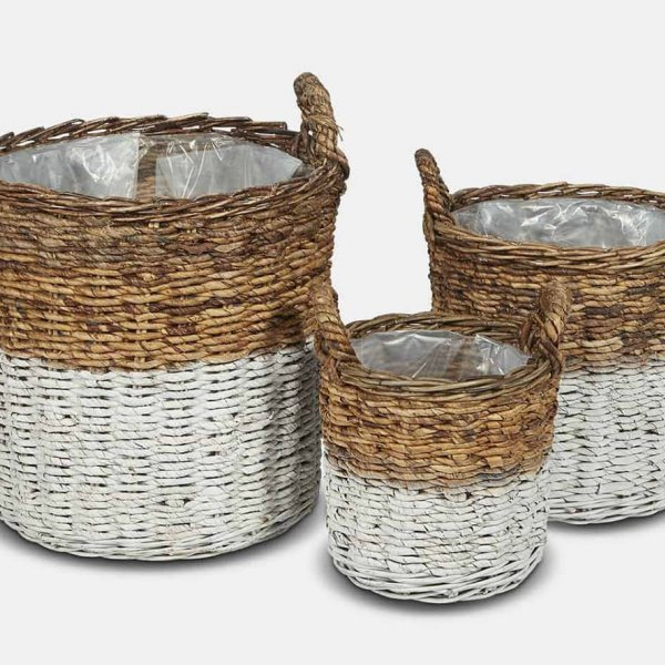 White Abaca Basket Set (S/3), made from Wicker, and presented in White/Natural. From The Vintage Garden Room