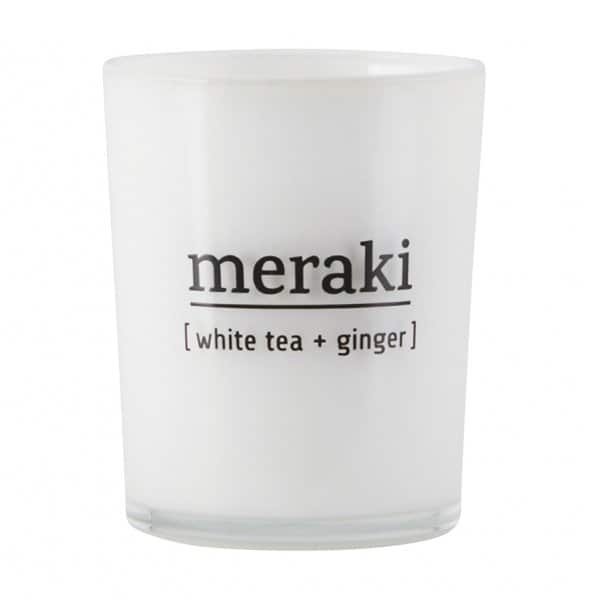 'White Tea & Ginger' Scented Candle, in coloured Glass, and presented in a branded Tin. By Meraki of Denmark