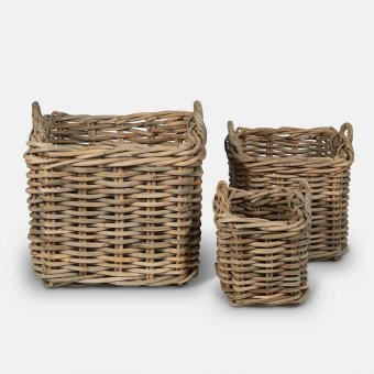 Wicker Log Basket Set (S/3), Indonesian Wood, Natural (3 sizes)