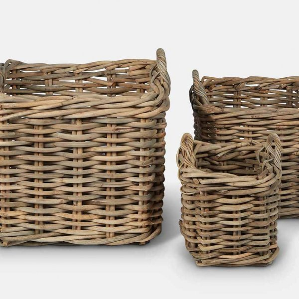 Wicker Log Basket Set (S/3), made from Indonesian Wood, and presented in Natural (colour). From The Vintage Garden Room