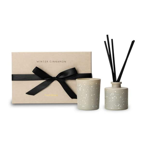 'Winter Cinnamon' Gift Set containing 1 x Soy Wax scented candle & 1 x Reed Diffuser. By ON Interiör of Sweden