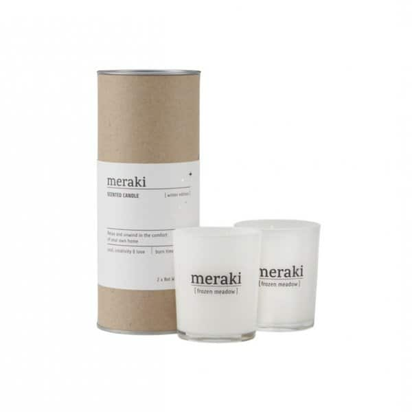 'Winter Edition' Scented Candle Set (2), presented in White Glass, comes in a beautiful Meraki tin. By Meraki of Denmark