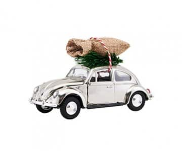 'Xmas Car', in the famous shape of the original VW Beetle, presented in Chrome. By House Doctor