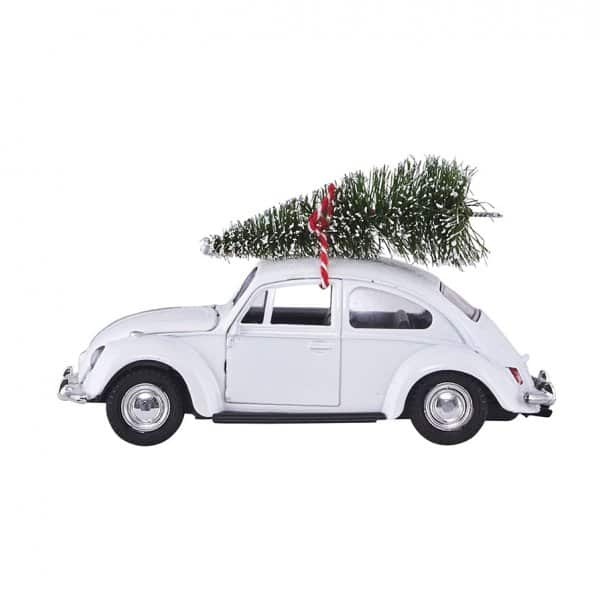 'Xmas Car', in the famous shape of the original VW Beetle, presented in White. By House Doctor