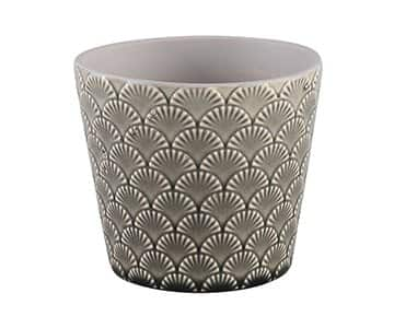 'Yentle' Ceramic Pot, in Grey, with a shell pattern. By PTMD Collection®