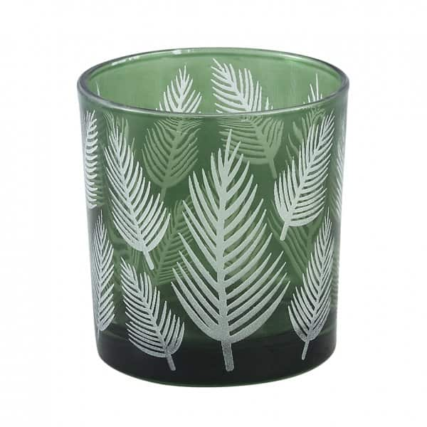 'Yerba' Green Glass Vase / Candle Votive with a Fern printed pattern. By PTMD Collection®