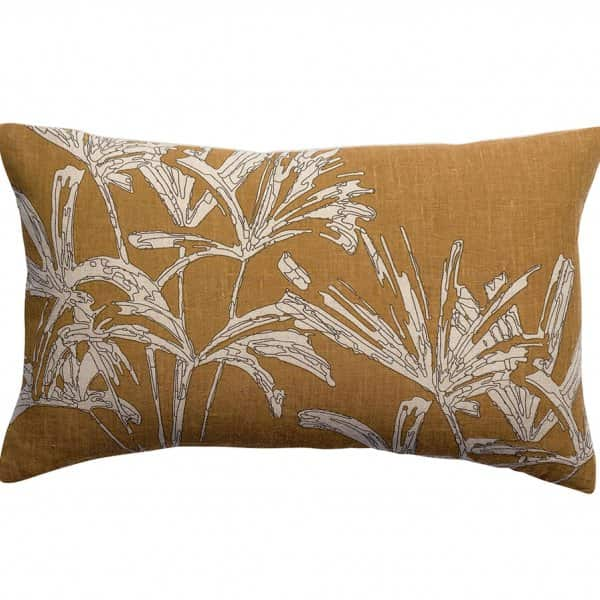 'Zeff Coco' Cushion with Flower pattern, made from 100% Linen, and presented in Bronze. By Vivaraise of France