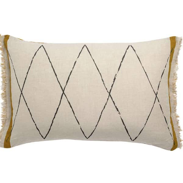 'Zeff Masai' Cushion, made from 100% Linen, and presented in Cream with Bronze, tasseled ends. By Vivaraise of France