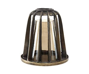 'Zeph' Lantern for Candles made from Iron, in rustic Brass, with cylindrical Luster glass candle sleeve. By PTMD Collection®