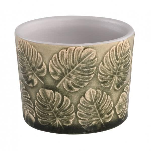 'Zev' Ceramic Pot, in Green, with a Leaf pattern. By PTMD Collection® of The Netherlands