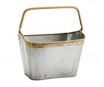 Zinc coloured Iron Bucket with Handle. By Madam Stoltz of Denmark